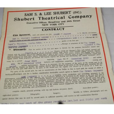 Raymond 1912 Schubert Contract: rare