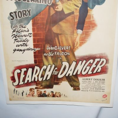 Original John Calvert the Falcon Series: Search for Danger Movie Poster 1949 A- condition