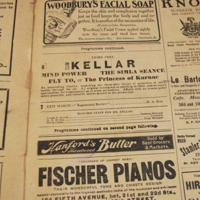 Harry Kellar and Paul Valadon program: Majestic Theater 1905 rare