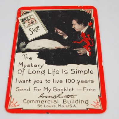 Thurston throw-out card: long life with sleeping goose on back.