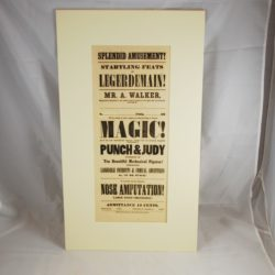 Original 1855 Broadise of M. Walker Magician and Punch and Judy: mint!