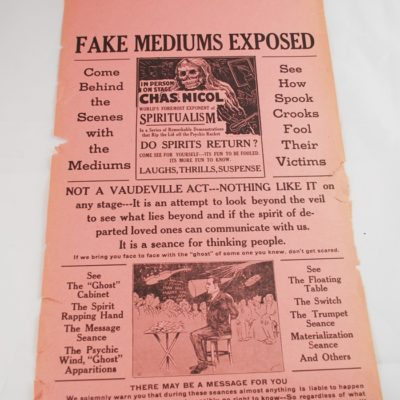 3. Charles Nicol Fake Medium expose broadside 9 by 24 inches