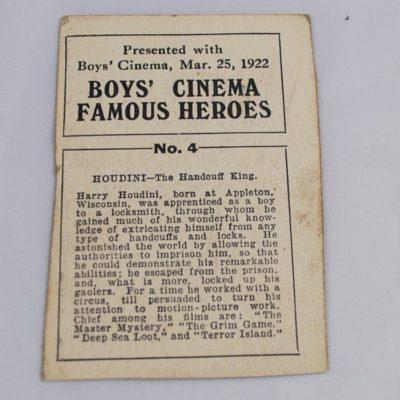 Houdini Boy's Cinema Card 1922