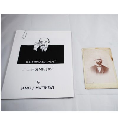 Photo of Ed saints father 1899 with Manuscript on Saint