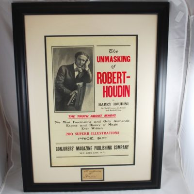 Unmasking Poster Mounted with Houdini cut autograph