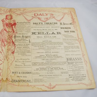 Kellar Daly THeater Program June 1896