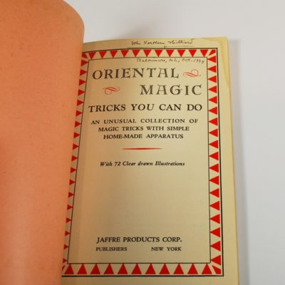 Oriental magic signed by John Northern Hilliard: 1934 Jaffre Products